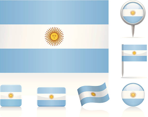 flags of argentina - icon set - argentina flag stock illustrations, clip art, cartoons, & icons