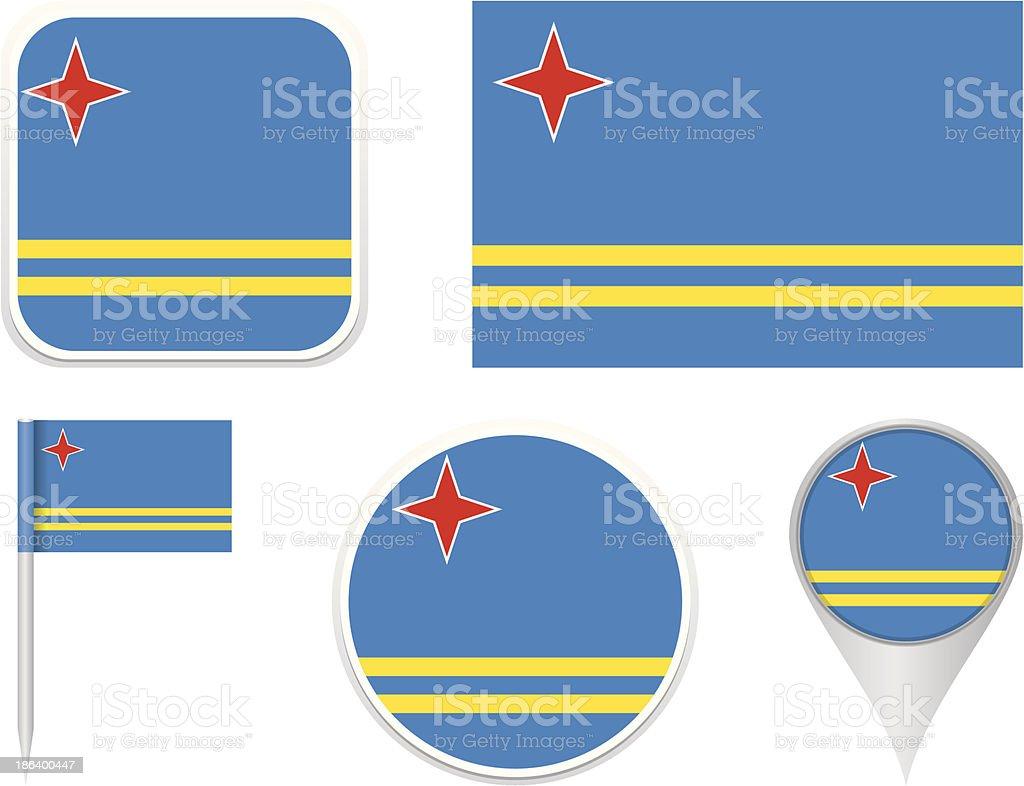 Flags of Aruba vector art illustration
