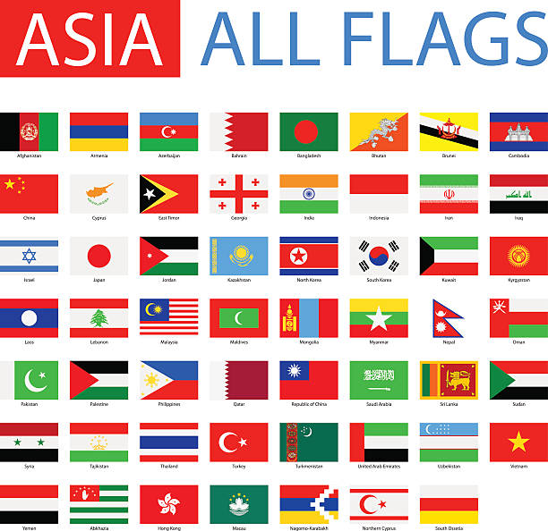 flags of asia - full vector collection - asya stock illustrations
