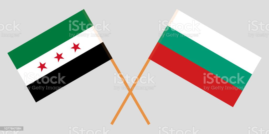 Flags of Bulgaria and Syrian National Coalition. Vector vector art illustration