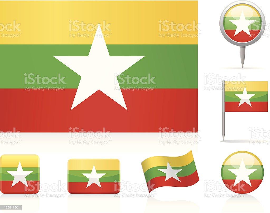 Flags of Burma - icon set vector art illustration