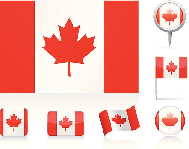 Flags of Canada vector art illustration