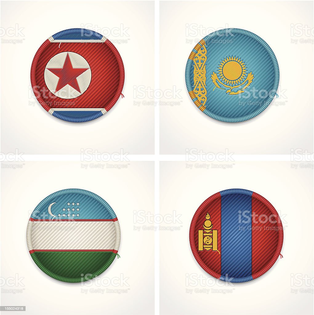 Flags of countries as fabric badges royalty-free flags of countries as fabric badges stock vector art & more images of asia