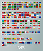 vector flags of countries divided by parts of the world