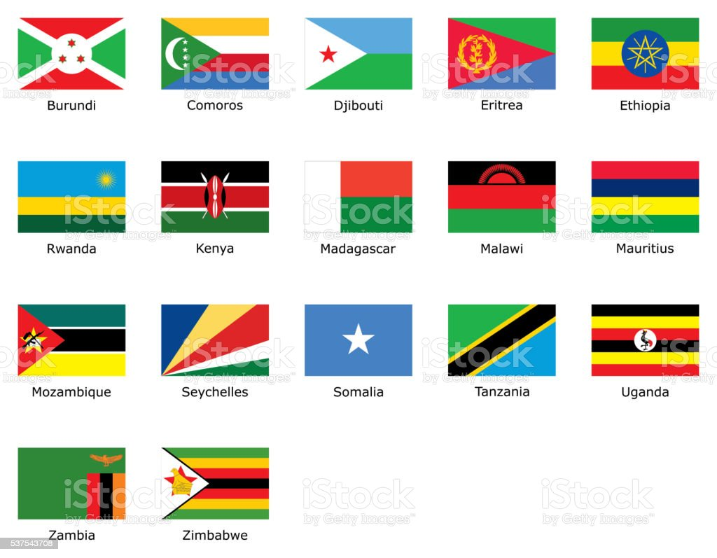 flags of East Africa vector art illustration