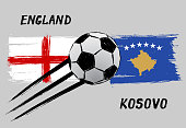 Flags of England and Kosovo - Icon for euro football championship qualify - Grunge