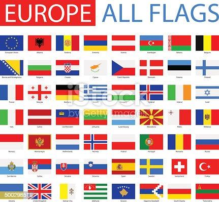 Vector Set of Flat European Flags