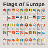Flags of Europe in cartoon style