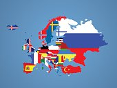Detailed map of Europe with all the countries flags inside their borders.