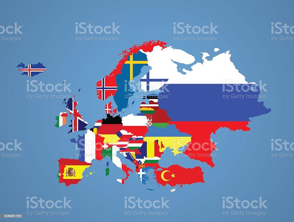 Banderas de Europa - ilustración de arte vectorial