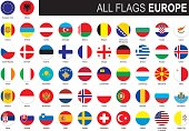 round flags of Europe with country names