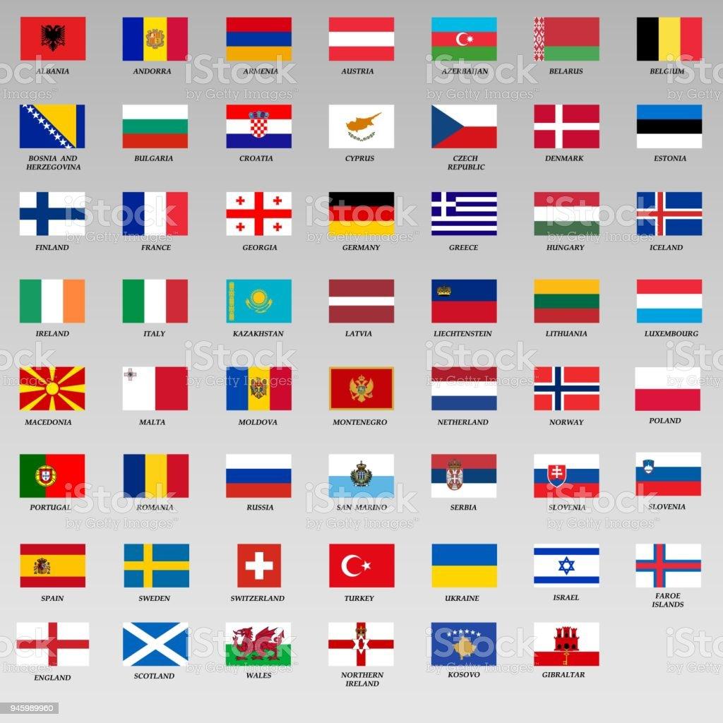 Flaggen von Europa – Vektorgrafik
