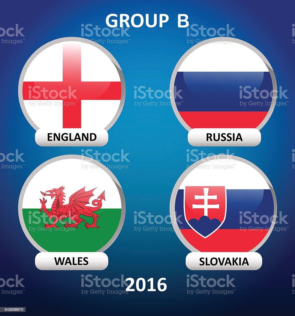 flags of European countries football vector art illustration