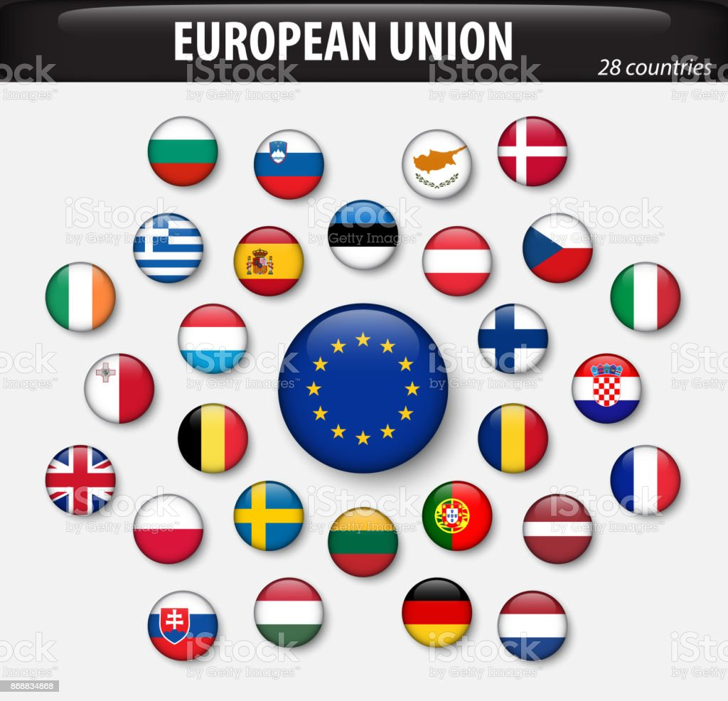 Flaggen der Europäischen Union und Mitgliedstaaten – Vektorgrafik