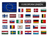 Flags of European Union and members . Wavy design . Isolated background .