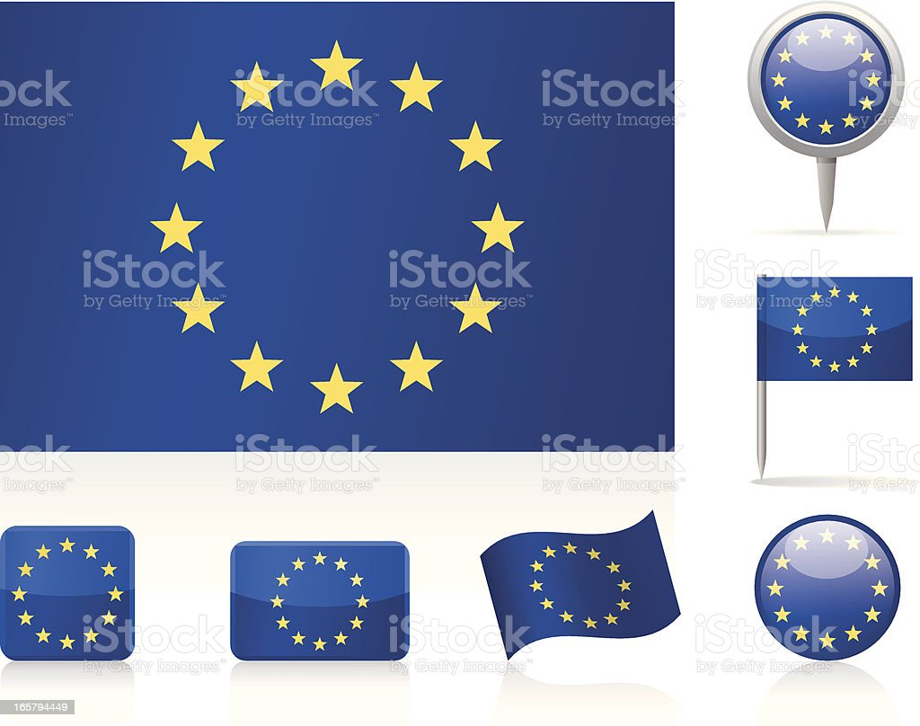 Flags of European Union - icon set vector art illustration