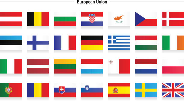 flags of european union - spanish flag stock illustrations, clip art, cartoons, & icons