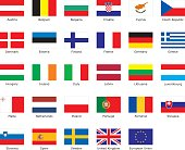 flags of European Union with an aspect ratio of 2:3 with country names.