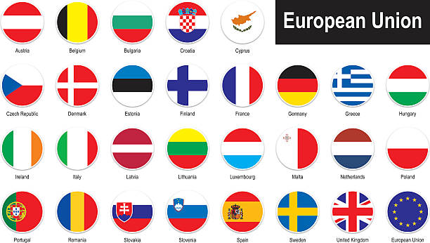 stockillustraties, clipart, cartoons en iconen met flags of european union - roemenië