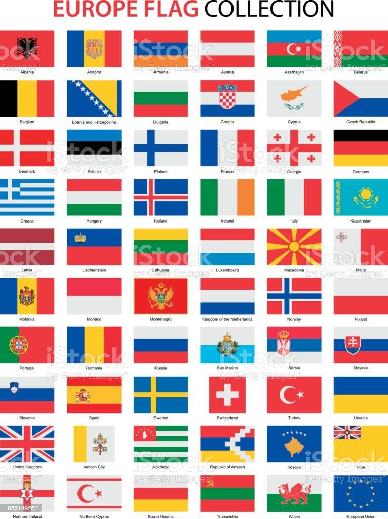 Lijst van vlaggen van Europe.Vector afbeeldingvectorkunst illustratie