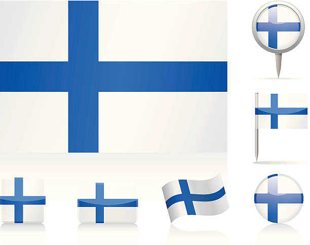 flags of finlad - icon set - finnish flag stock illustrations, clip art, cartoons, & icons