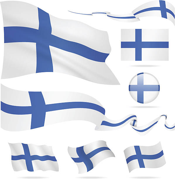 flags of finland - icon set - illustration - finnish flag stock illustrations, clip art, cartoons, & icons