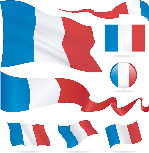 ilustraciones, imágenes clip art, dibujos animados e iconos de stock de banderas de francia-icono conjunto-ilustración - bandera francesa