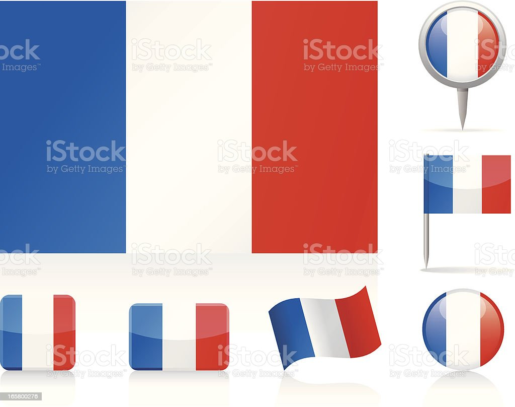 Flags of France - icon set vector art illustration