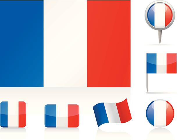 ilustraciones, imágenes clip art, dibujos animados e iconos de stock de banderas conjunto de iconos de francia - bandera francesa