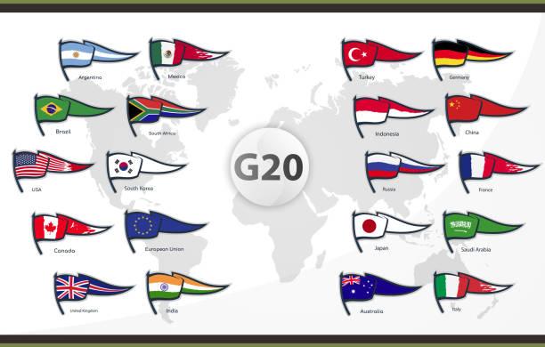 flaggen der g20-länder - südeuropa stock-grafiken, -clipart, -cartoons und -symbole