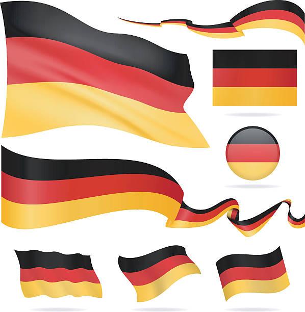 ilustraciones, imágenes clip art, dibujos animados e iconos de stock de banderas de alemania-icono conjunto-ilustración - bandera alemana