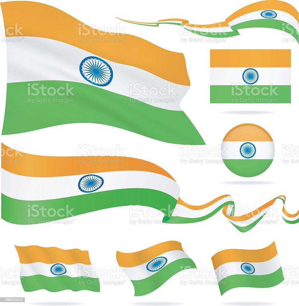 Flags of India - icon set - Illustration vector art illustration