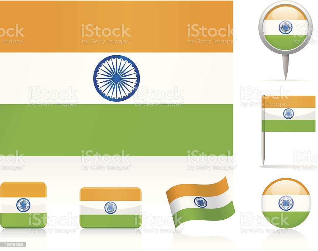 Flags of India - icon set vector art illustration