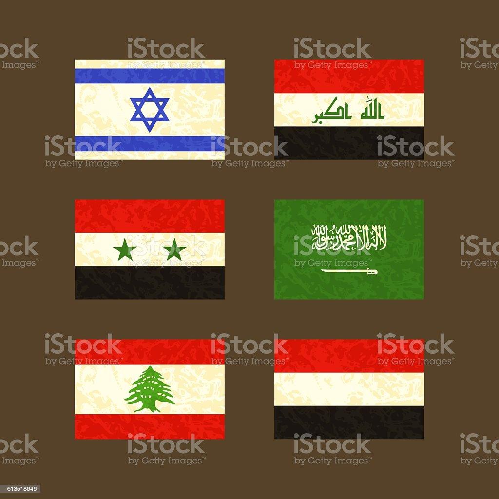 Flags of Israel, Iraq, Syria, Saudi Arabia, Lebanon and Yemen vector art illustration