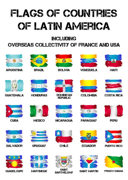 Banderas de países de América Latina - ilustración de arte vectorial