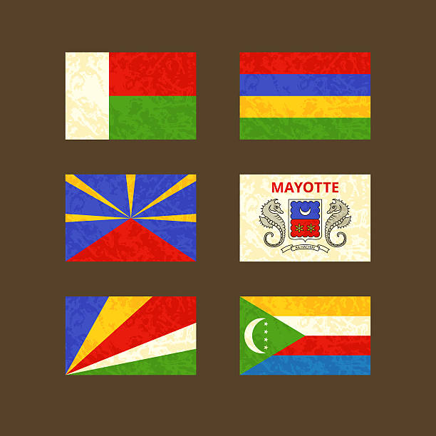 flags of madagascar, reunion, seychelles, mauritius, mayotte and comoros - reunion stock illustrations, clip art, cartoons, & icons