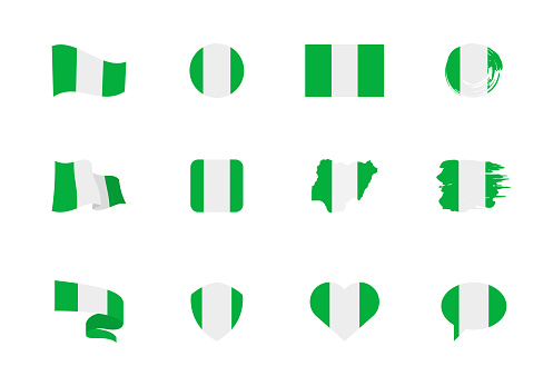 Flags of Nigeria - flat collection. Flags of different shaped twelve flat icons.