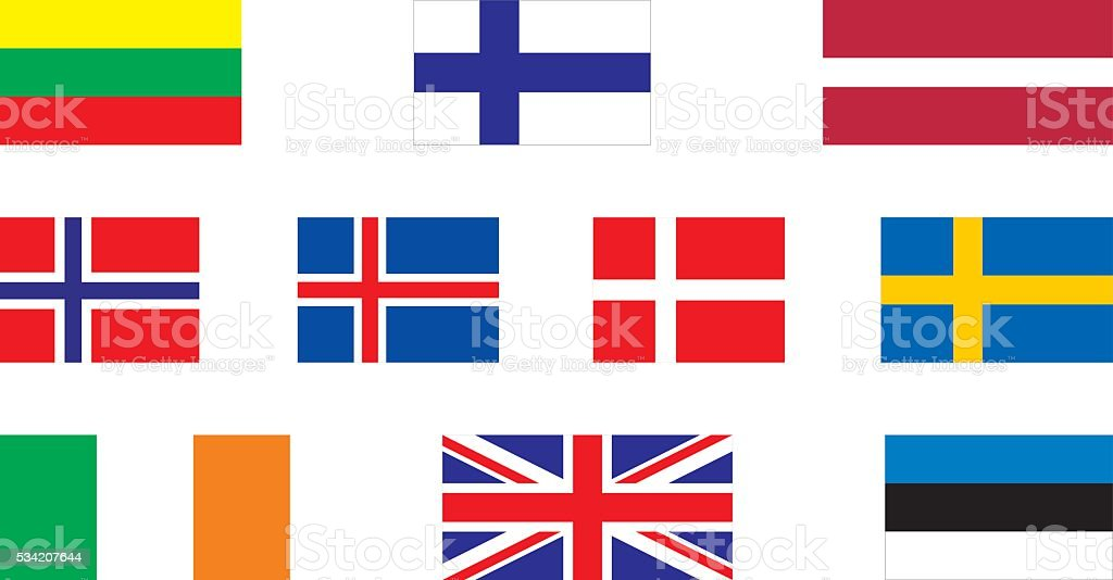 Flags Of North Europe Stock Vector Art IStock - north flags