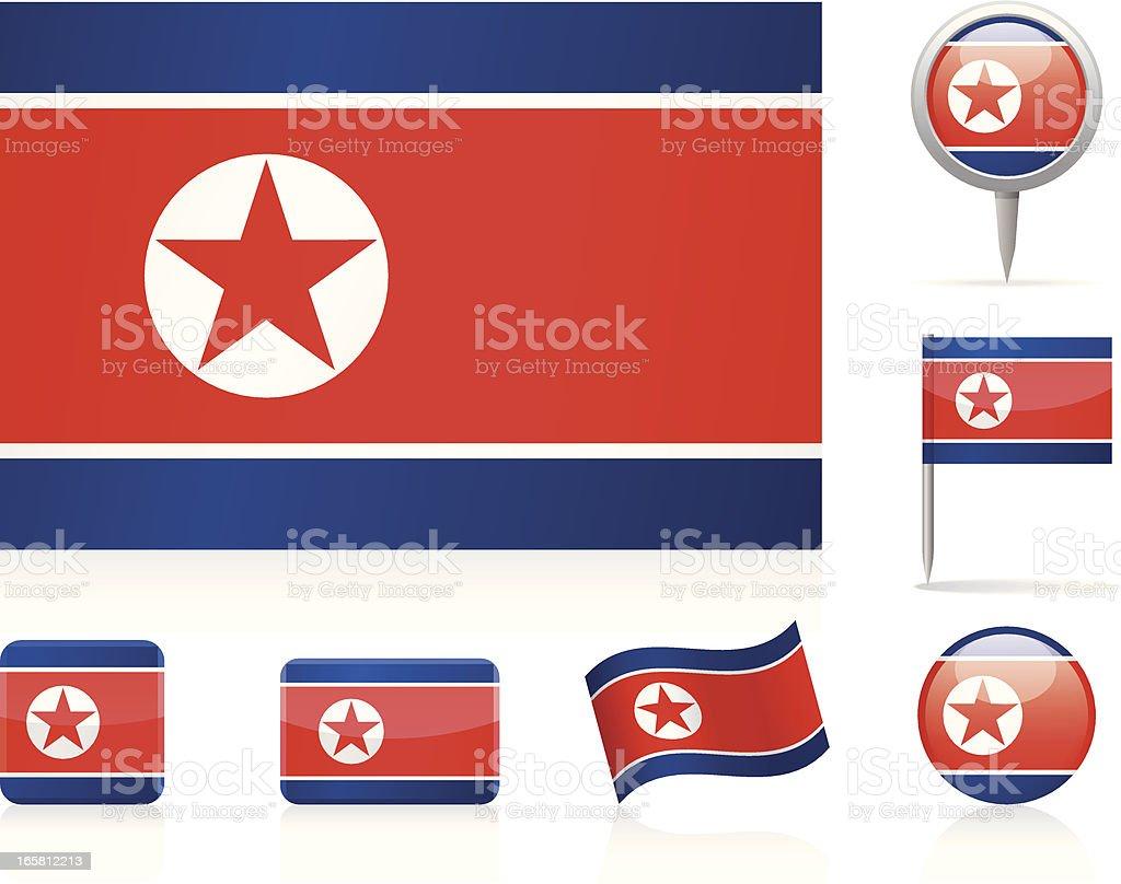 Flags of North Korea - icon set vector art illustration