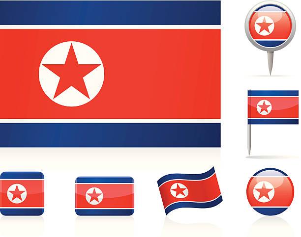 ilustraciones, imágenes clip art, dibujos animados e iconos de stock de bandera de corea del norte-icono de - bandera coreana
