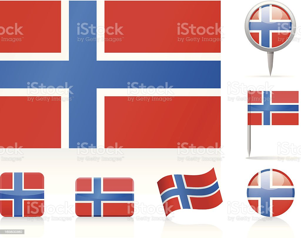 Flags of Norway - icon set royalty-free stock vector art
