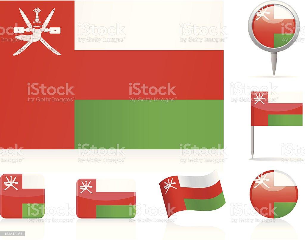 Flags of Oman - icon set vector art illustration