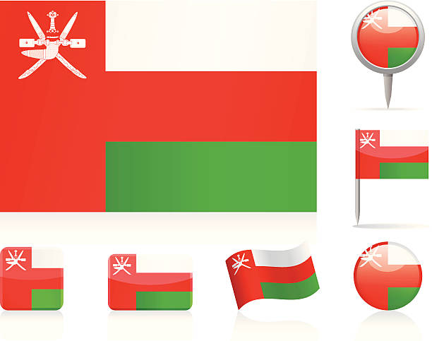 flags of oman - icon set - oman stock illustrations