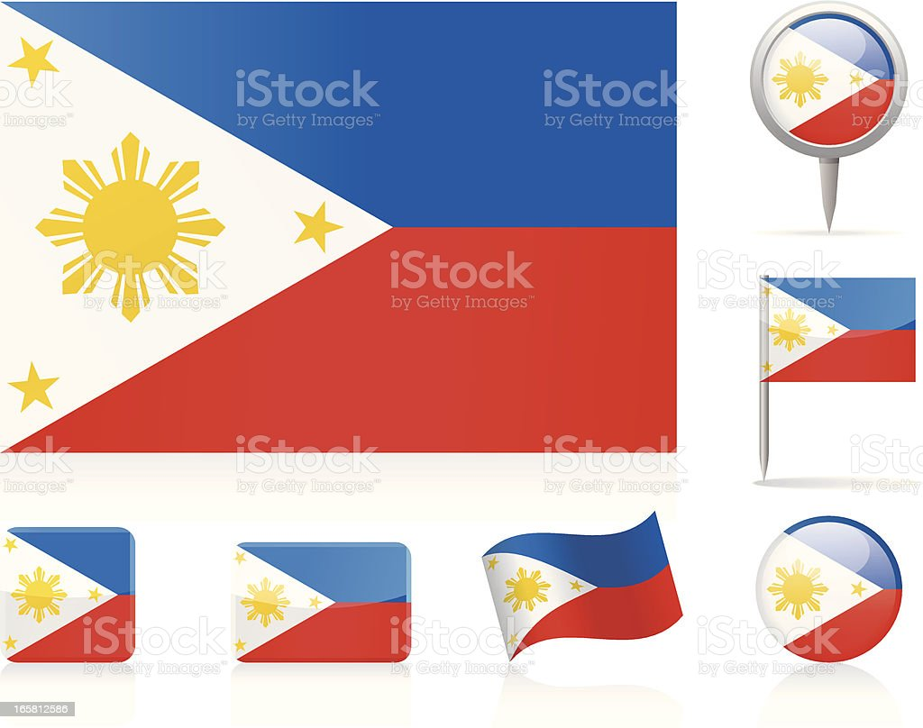 Flags of Philippines - icon set royalty-free flags of philippines icon set stock vector art & more images of circle