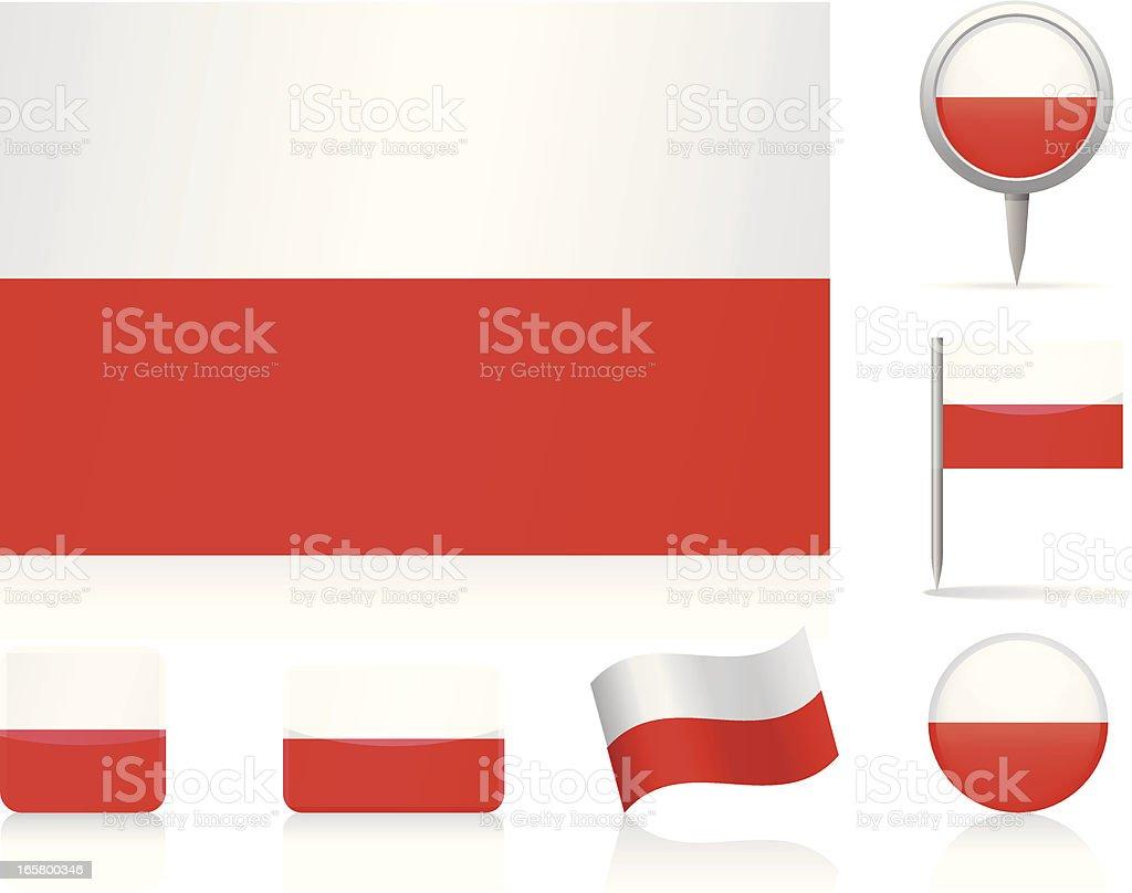 Flags of Poland - icon set vector art illustration