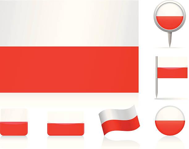 旗ポーランド-アイコンを設定します。 - ポーランドの国旗点のイラスト素材/クリップアート素材/マンガ素材/アイコン素材