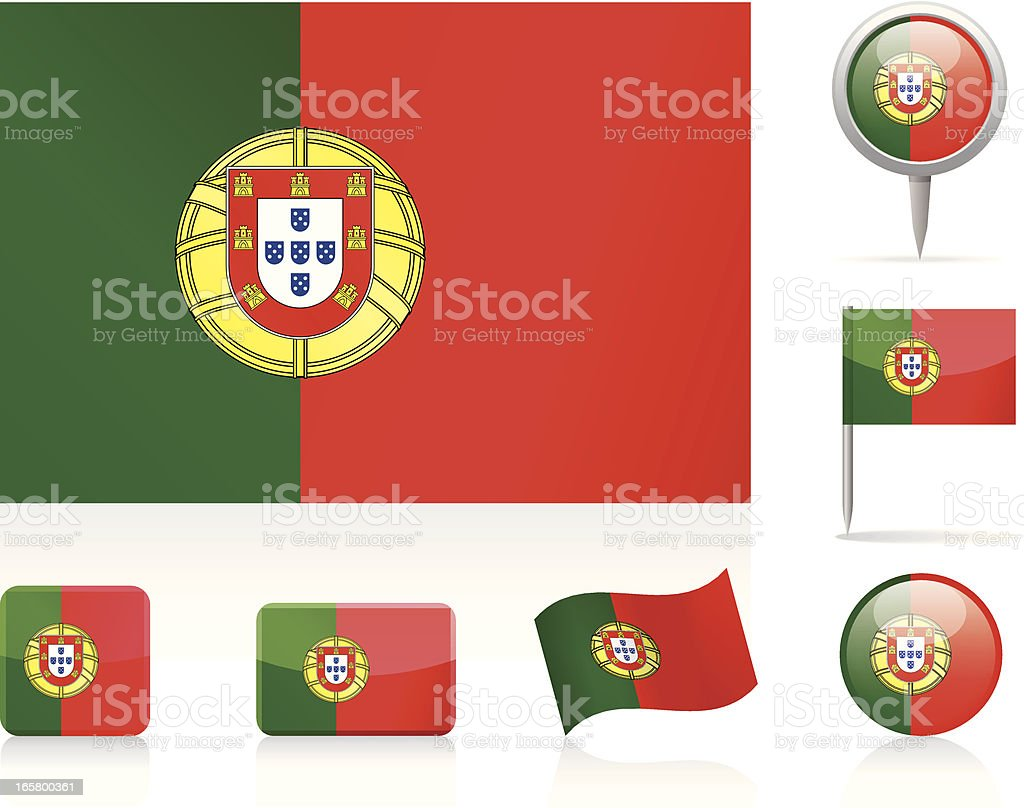 Flags of Portugal - icon set royalty-free flags of portugal icon set stock vector art & more images of circle