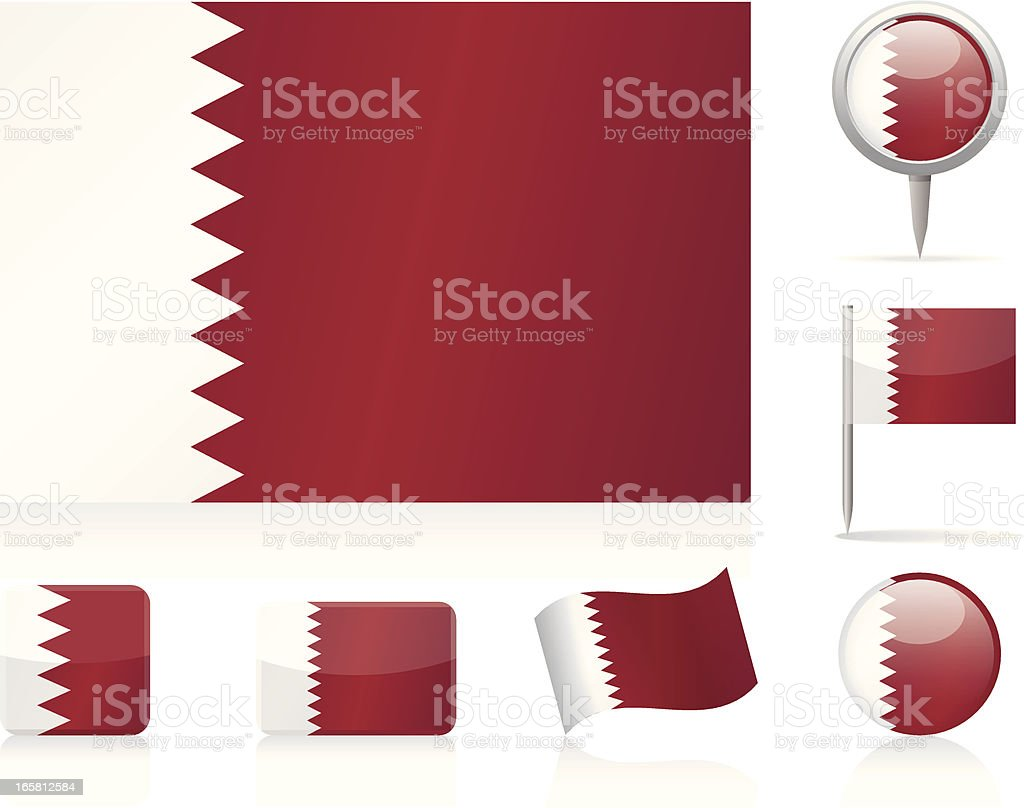 Flags of Qatar - icon set royalty-free flags of qatar icon set stock vector art & more images of circle