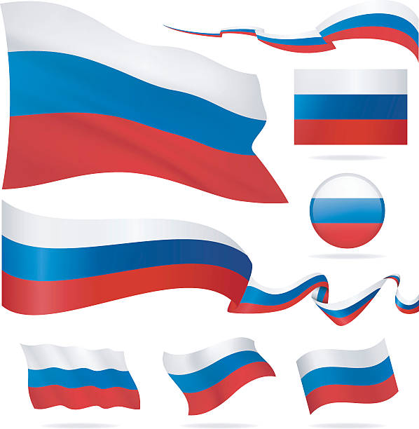 flags of russia - icon set - illustration - russian flag stock illustrations, clip art, cartoons, & icons