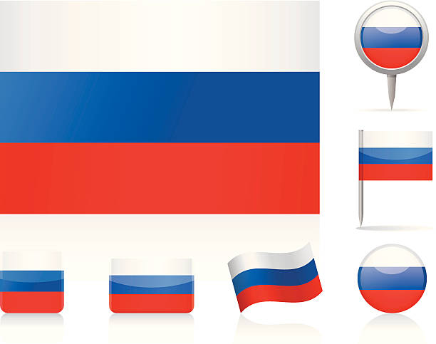 flags of russia - icon set - russian flag stock illustrations, clip art, cartoons, & icons